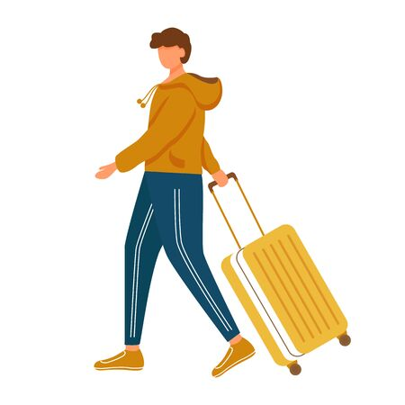 Man with luggage flat vector illustration. Holiday travel. Male person going with baggage. Young caucasian tourist in sportswear walking with suitcase isolated cartoon character on white background Ilustração