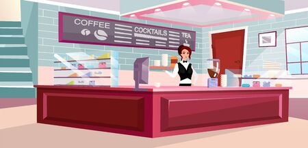 Coffee shop barista at work flat vector illustration. Trendy counter, modern ceiling lamp and brick walls interior. Stylish cafeteria inside. Waitress using coffee machine cartoon character