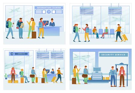 Airport zones flat vector illustrations set. Information counter, lounge area, registration, security service. Travelers in air terminal. People go through check in steps cartoon characters