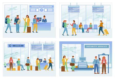 Set di illustrazioni vettoriali piatte per zone aeroportuali. Sportello informazioni, area lounge, registrazione, servizio di sicurezza. Viaggiatori in aerostazione. Le persone attraversano i passaggi dei personaggi dei cartoni animati