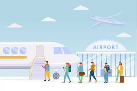 Passengers boarding plane flat vector illustration. Airport. People on airfield. Tourists, travelers fly on charter flight. Men and women climb the ramp to aircraft cartoon characters
