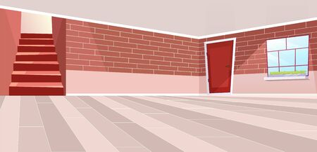 Empty cottage hall interior flat vector illustration. Cartoon vintage brick walls, doors and staircase in red color palette. Sunlit room with beige floor and ceiling. New apartment design planning