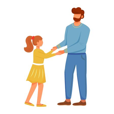 Lovely dad with daughter flat vector illustration. Close family relationships. Daddy playing with little girl. Caucasian father holding hands of kid isolated cartoon characters on white background