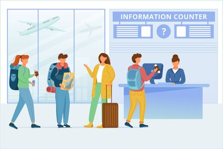 Airport information counter flat vector illustration. Transfer zone. Travelers in air terminal. Commercial air transport. Passengers talking, man asking employee for help cartoon characters 일러스트