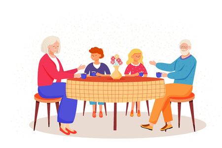 Retired people flat vector illustration. Children came to visit elderly relatives. Family pastime in dining room. Grandparents drink tea with kids cartoon characters Illustration