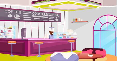 Coffeehouse interior flat vector illustration. Cozy cafe with trendy chairs, tables and vintage arched window. Cartoon counter, coffee machine and glass showcase. Stylish chalkboard with drinks menu Фото со стока - 131474663