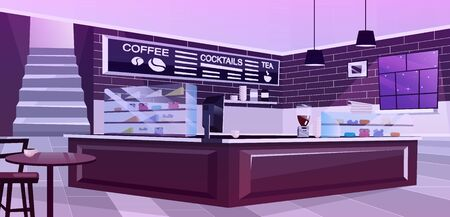 Cafe interior at night flat vector illustration. Trendy coffee shop design in dark violet color pallette. Vintage furniture and stylish lamps. Cartoon empty confectionery, bakery inside Фото со стока - 131486254