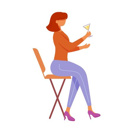 Girl with cocktail sitting on chair flat vector illustration. Holiday, party celebration in nightclub. Young confident woman with alcoholic drink isolated cartoon character on white background
