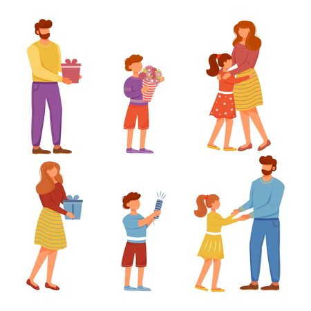 Family holiday flat vector illustrations set. Holiday event. Happy anniversary day. Mother and father birthday congratulations, gift giving isolated cartoon characters on white background