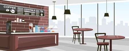 Urban cafe space flat vector illustration. Panoramic windows of modern coffee shop. Cartoon wooden counter, glass showcase with desserts. Trendy chalkboard menu with coffee, tea, cocktails list Фото со стока - 131488287