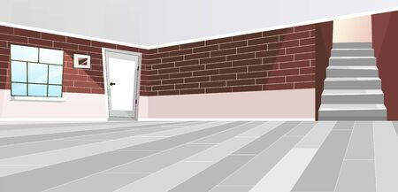 Empty room interior flat vector illustration. Cartoon door and staircase. Vintage style brown brick wall. Luxury cottage hall with big window and painting decor on wall. Minimalist floor and ceiling