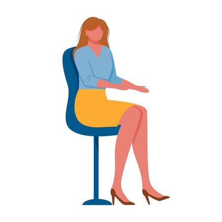 Young woman sitting on chair flat vector illustration. Company employee. Female brunette office worker in business costume and in high heeled shoes isolated cartoon character on white background