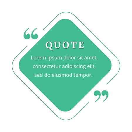 Quote blank frame vector template. Green speech bubble. Quotation, citation text box design. Rhombus with rounded edges empty textbox background for message, comment, note