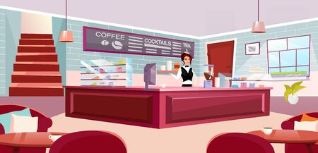 Barista at counter flat vector illustration. Stylish coffeehouse with comfortable furniture. Waitress at bakery offering drinks. Sunlit hall of cozy coffee shop. Cartoon brick walls and staircase