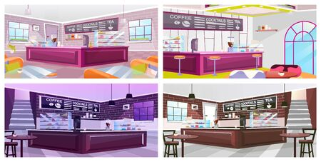 Coffeehouse interior flat vector illustrations set. Luxury restaurant furnishing inside. Empty bar, nightclub counter, chalkboard menu. Cartoon wooden tables and chairs in spacious hall
