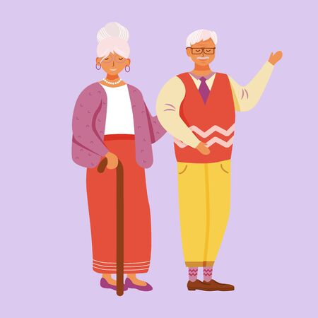 Aged smiling man and woman flat vector illustration. Welcoming grandparents. Cheerful grandpa, grandma. Happy senior couple standing together isolated cartoon character on violet background Фото со стока - 132321314