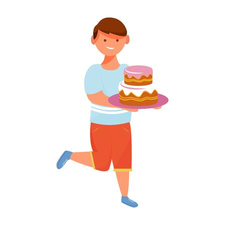 Happy boy with cake flat vector illustration. Children party celebration. Positive holiday emotions. Cheerful birthday boy running with dessert isolated cartoon character on white background 向量圖像