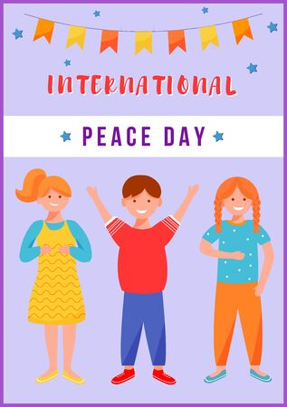 International peace day greeting card flat vector template. Smiling kids celebrate holiday. Boy and girls festive postcard design layout. Poster, banner, print with cartoon characters and lettering