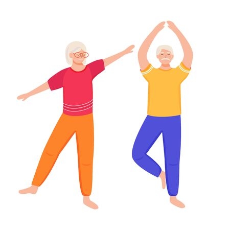 Retired people training flat vector illustration. Physical exercise. Healthy lifestyle. Old couple spends time together. Pensioners are doing yoga cartoon isolated characters on white background Stock fotó - 132324298