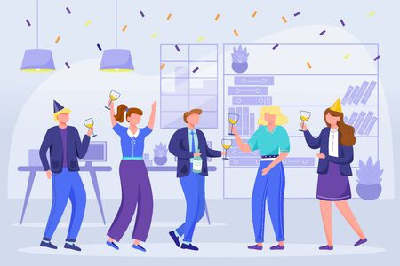 Office team celebrate birthday flat vector illustration. Company birth party on workplace. Festive bright entertainment. Corporate event. Colleagues dance, have wine, snacks cartoon characters