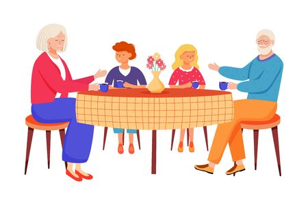 Retired people flat vector illustration. Children came to visit elderly relatives. Family pastime. Grandparents drink tea with kids cartoon isolated characters on white background 向量圖像