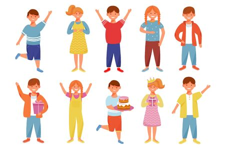 Smiling boys and girls flat vector illustrations set. Children birthday party. Kindergarten. Happy childhood. Young people friends. Cheerful kids on holiday isolated cartoon characters Illustration