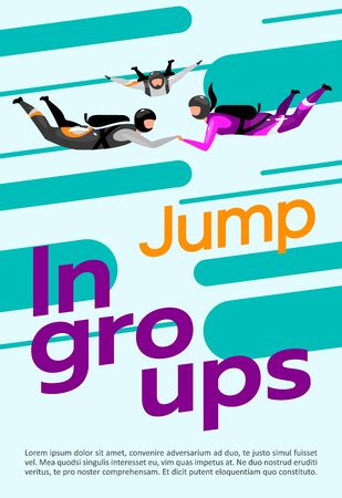 Jump in groups poster vector template. Skydiving, freefalling. Brochure, cover, booklet page concept design with flat illustrations. Extreme sport. Advertising flyer, leaflet, banner layout idea