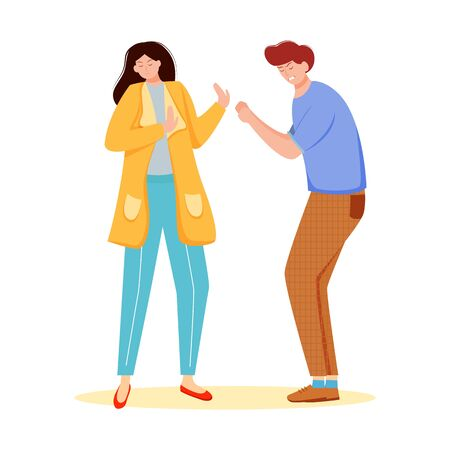 Trouble relationship flat vector illustration. Family conflict. Married couple dispute. Husband and wife quarrel. Boyfriend and girlfriend arguing isolated cartoon character on white background