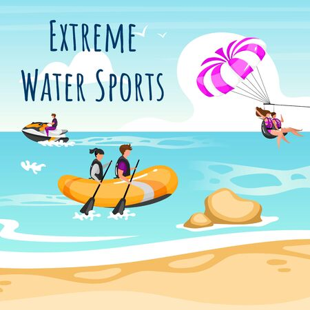 Extreme water sport social media post mockup. Couple beach activities. Advertising web banner design template. Social media booster, content layout. Promotion poster, print ads with flat illustrations