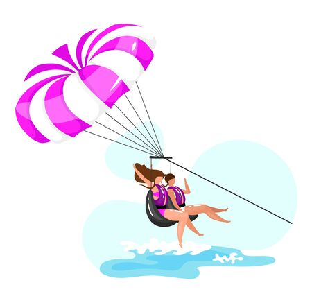 Parasailing flat vector illustration. Extreme sports experience. Active lifestyle. Summer vacation fun activities. Ocean turquoise waves. Couple isolated cartoon character on blue background