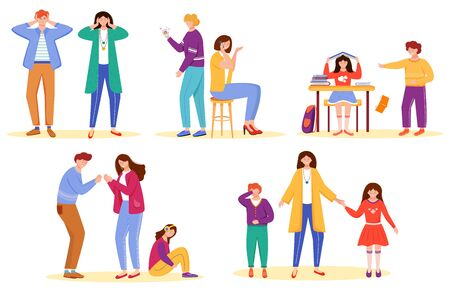 Trouble relationship flat vector illustrations set. School bullying. Marriage problems. Cheating partner. Misunderstanding and quarrels. Unhappy people. Family problems isolated cartoon characters