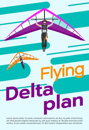 Flying delta plan poster vector template. Skydiving, hang gliding. Brochure, cover, booklet page concept design with flat illustrations. Extreme sport. Advertising flyer, leaflet, banner layout idea