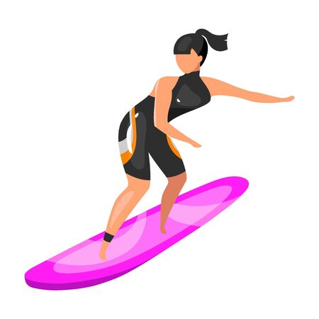 Surfing flat vector illustration. Extreme sports experience. Active lifestyle. Summer vacation outdoor fun activities. Sportswoman balancing on surfboard isolated cartoon character on white background