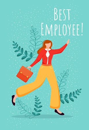 Best employee poster vector template. Top performer greeting card, certificate design with flat female cartoon character. Positive company culture. Reward for good work. Staff effectiveness incentive
