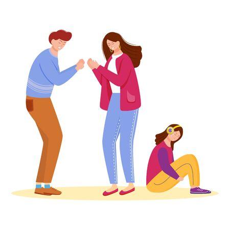 Problembeziehung flache Vektorillustration. Familienkonflikt. Ehepaar-Problem. Aggressives Verhalten zwischen Mann und Frau. Ehe mit Kind isolierte Zeichentrickfigur auf weißem Hintergrund