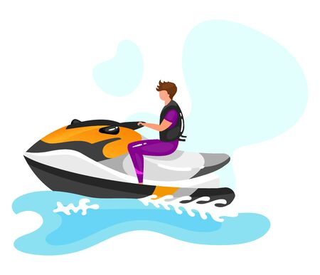 Man on water scooter flat vector illustration. Extreme sports experience. Active lifestyle. Summer vacation outdoor fun activities. Ocean waves. Sportsman isolated cartoon character on blue background Ilustração