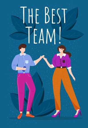 The best team poster vector template. Teamwork reward greeting card concept design with flat cartoon characters. Two office workers on blue background with leaves and inscription