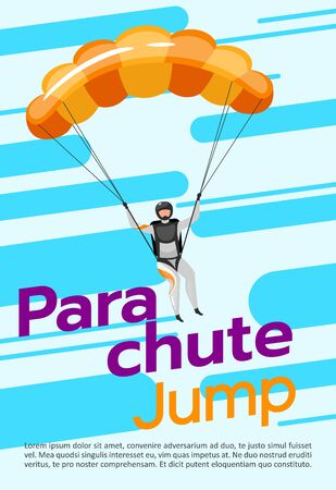 Parachute jump poster vector template. Skydiving, paragliding. Brochure, cover, booklet page concept design with flat illustrations. Extreme sport. Advertising flyer, leaflet, banner layout idea