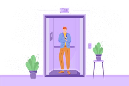 Employee in elevator vector illustration. Man in hotel lift. Office corridor interior with plants. Businessman going to meeting. Candidate heading to interview. Cartoon character on white background