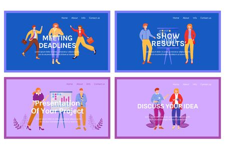 Corporate landing page vector template set. Company website interface idea with flat illustrations. Organization homepage layout. Work guide web banner, webpage cartoon concepts