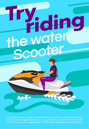 Try riding the water scooter poster vector template. Watersport. Brochure, cover, booklet page concept design with flat illustrations. Extreme sport. Advertising flyer, leaflet, banner layout idea