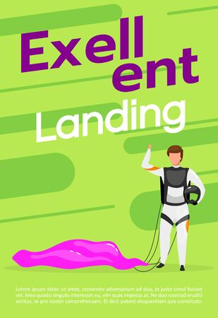 Excellent landing poster vector template. Skydiving, paragliding. Brochure, cover, booklet page concept design with flat illustrations. Extreme sport. Advertising flyer, leaflet, banner layout idea