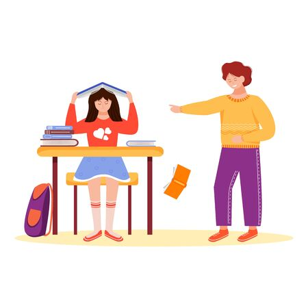 Trouble relationship flat vector illustration. School pupils bullying. Conflict between children. Classmates quarrel. Aggressive schoolmates. Mockery isolated cartoon characters on white background