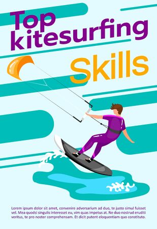 Top kitesurfing skills poster vector template. Watersport. Brochure, cover, booklet page concept design with flat illustrations. Extreme sport. Advertising flyer, leaflet, banner layout idea