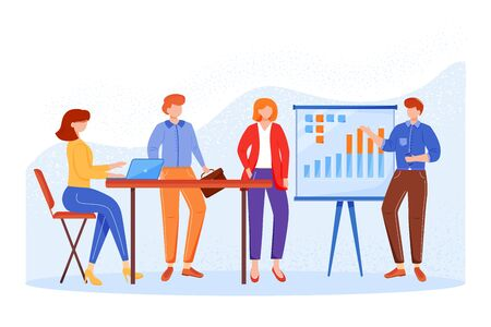 Business meeting flat vector illustration. Office worker presenting report. Teamwork concept. Brainstorming for ideas. Company strategy discussion. Faceless cartoon characters in conference room