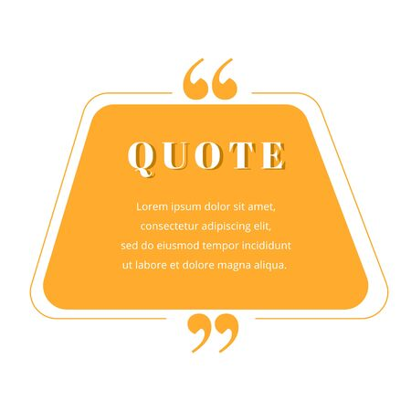 Quote blank frame vector template. Orange gradient speech bubble. Quotation, citation text box design. Trapezium with rounded edges empty textbox background for message, comment, note
