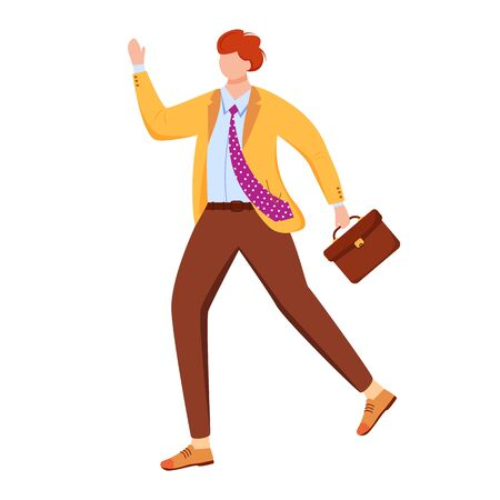 Male office worker flat vector illustration. Person hurrying to business meeting. Late for work employee. Man in formal clothes with briefcase isolated faceless cartoon character on white background Stok Fotoğraf - 133078229
