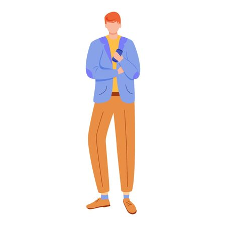 Office worker flat vector illustration. Company manager. Confident young entrepreneur, startuper. Businessman in formal clothes with smartphone isolated faceless cartoon character on white background Stok Fotoğraf - 133078638
