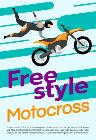 Freestyle motocross poster vector template. Extreme sport. Brochure, cover, booklet page concept design with flat illustrations. Motorcycle stunts. Advertising flyer, leaflet, banner layout idea