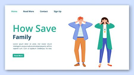 How save family landing page vector template set. Trouble relationship website interface idea with flat illustrations. Married couple misunderstanding homepage layout, webpage cartoon concept